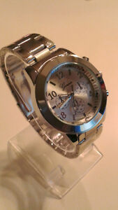 Mens Quartz Geneva Dial Wrist Watch, Silvertone - New!