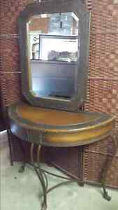 Hall table with wall mirror