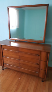 Dresser with large mirror and matching bed set