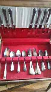 Antique silver cutlery, in box