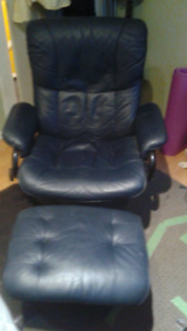 Palliser leather reclining chair with ottoman, navy blue
