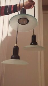 Glass Hanging Lamp with 3 lights. $10.00