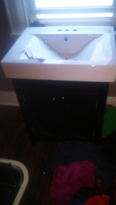 Two piece bathroom sink