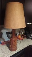 Cool Hand Carved Wood Elephant Table Lamp