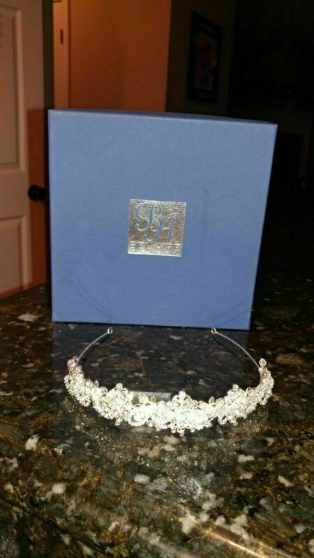 Bel Aire Bridal Dainty Silver Floral, Rhinestone and Crystal Tiara Stunning!