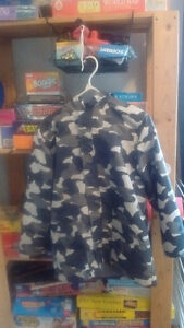 Gymboree Size 10-12 black/grey camo raincoat