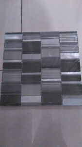 Black and silver glass mosaic tiles