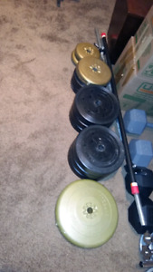 Weights  155 pounds of plates