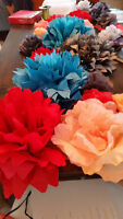 Wedding / Party Decorations - Pom Poms and Paper Flowers