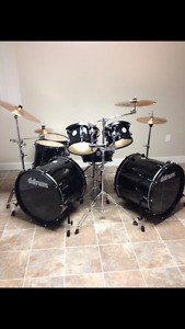 ddrum 7 piece double bass drum kit w/extras