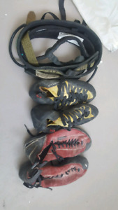 Rock climbing harness and shoes