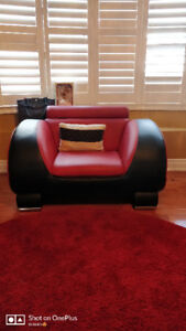 Red n black single couch