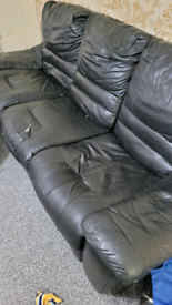 Sofa dfs black leather recliner