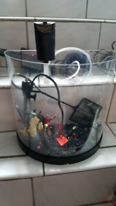 Small half moon desktop aquarium with everything shown