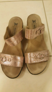brown and pink mephisto leather sandals