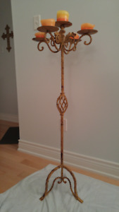 "Candle Holder Floor Stand Vintage Distressed Wrought Iron 48"" Hi"