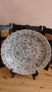 """Old Chinese Super Large Size Blue White Plate,""""大明洪武年制""""款"""