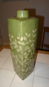 """Jar - Tall Square Base Jar, Green With Painted Leaf Pattern, 20"""""""