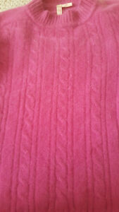 Hot Pink Women's Cashmere Cabled Long Sleeve Sweater