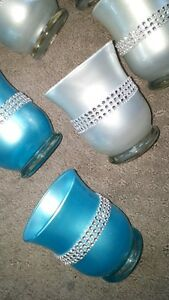 cute silverish and blue candle holders (wedding decorations)
