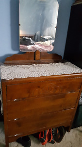 Antique Solid Wood 3 Drawer Dresser with Mirror