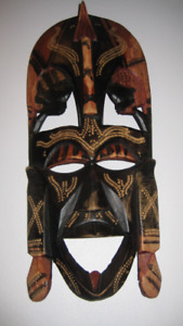 Wood Carved Mask and hand painted from Kenya
