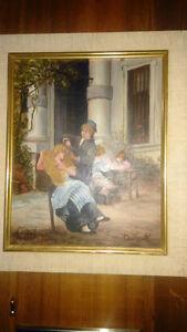 Monet oak framed print. Hair oil painting