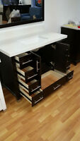 "49""  wood vanity with quart top/mirror/faucet/sink - wow!"