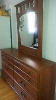 Wooden bedset with bed frame, dresser and side table