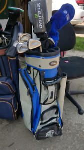 Gold Clubs and Bag