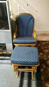 Wooden Rocking Chair with Stool