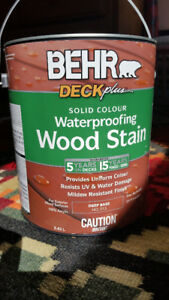 1 Gallon Behr Waterproofing Wood Stain (Solid Colour)