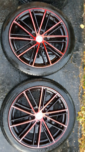 RTX STROBE 5: BLACK AND RED RIMS AND TIRE PACKAGE
