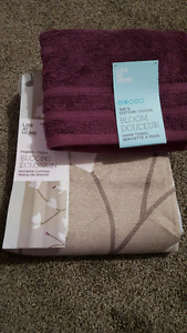 Fabric Shower Curtain and Matching Hand Towel