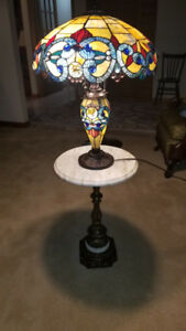 Tiffany Style Stained Glass Double Lit Table Lamp