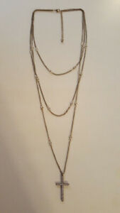 Multiple Strand Necklace with Cross