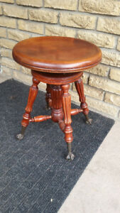 ANTIQUE PIANO STOOL CHAIR CLAW FOOT