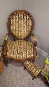 Antique accent chair and stool