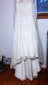 Cream Color with train wedding gown