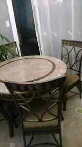 Travertine dinning table with 4 chairs