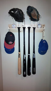 Baseball Bat Cap Glove Rack