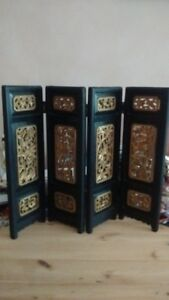 Old Chinese Wood Carved Table Screen, Birds & Flowers, Gilt