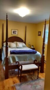 Four poster canopy bed, Queen size.