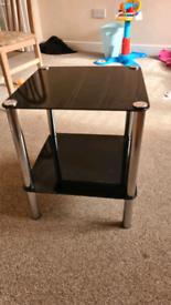 2 tier black glass coffee/side table