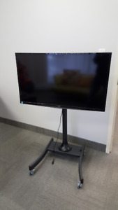 Adjustable TV stand on wheels including Monitor