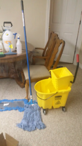 Cleaning supplys buckets mops commercial