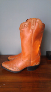 Ostrich skin cowboy boots