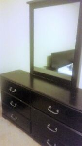 DRESSER AND MIRROR + END TABLES