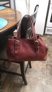 Awesome small Burgundy Root's leather purse $40