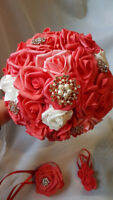 Brooch bridal bouquet, boutonniere and wrist corsage – SALE!!!